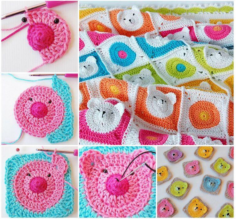 Teddy Bear Granny Square Blanket Pattern | Manta, Colchas y Cobija
