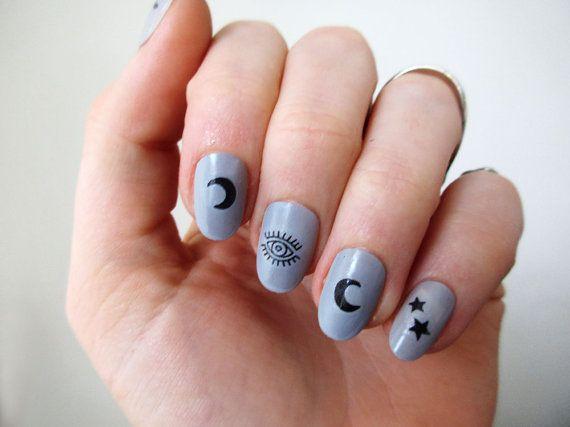 Moon Stars And Eyes Nail Tattoos Nail Decals Nail Art Moon