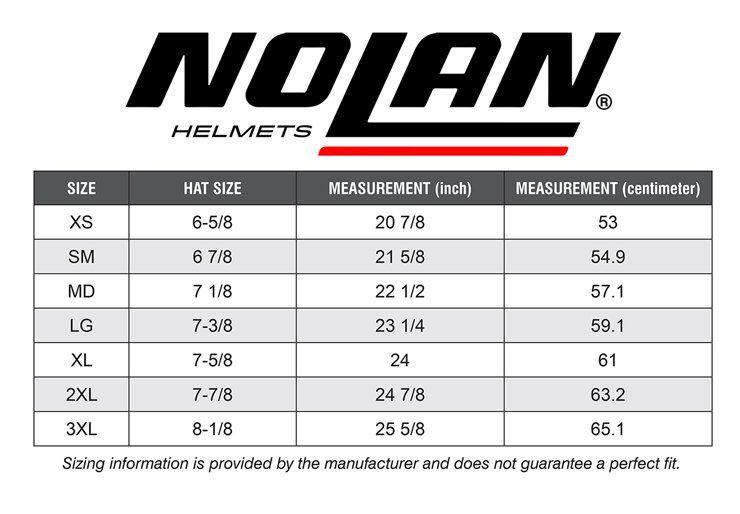 Nolan N44 Evo Size Chart In 2020 Chart Nolan Size Chart