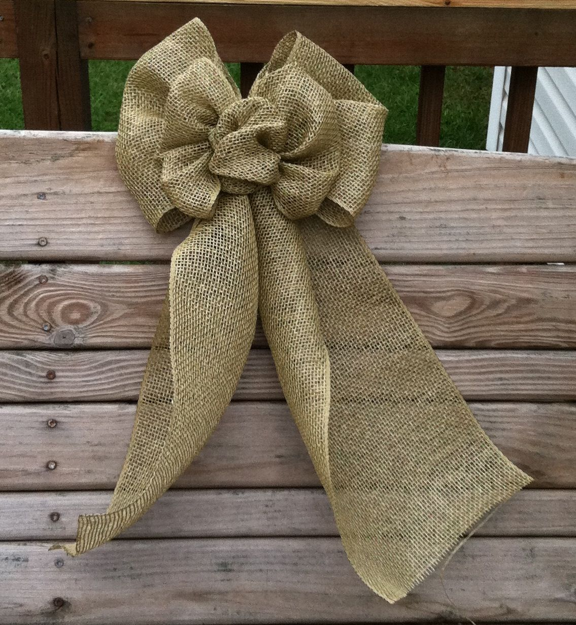 "10"" Deco Mesh Burlap Bow In Tan. Made By Me Using A DIY"
