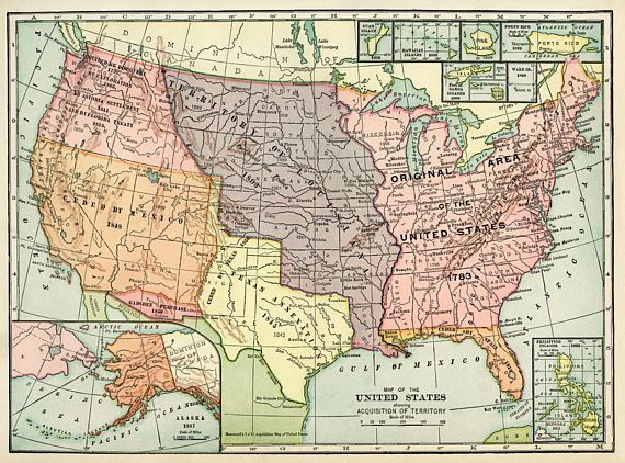 Old map of United States of America map Digital Vintage Art ...