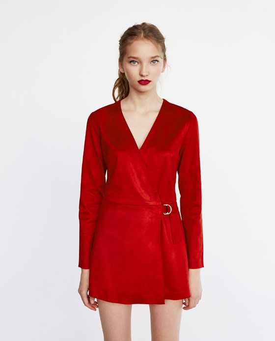 suede dress rood