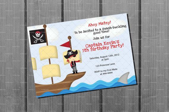 Pirate Birthday Invitation FREE Thank You Card Printables