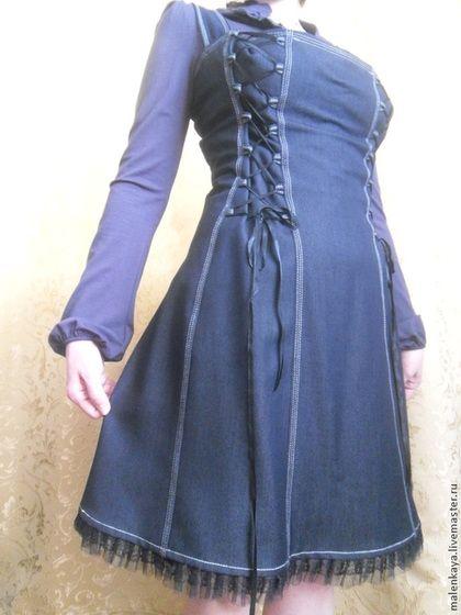 3bac57216e3 Платья ручной работы. Ярмарка Мастеров - ручная работа. Купить джинсовый  сарафан на брителях для