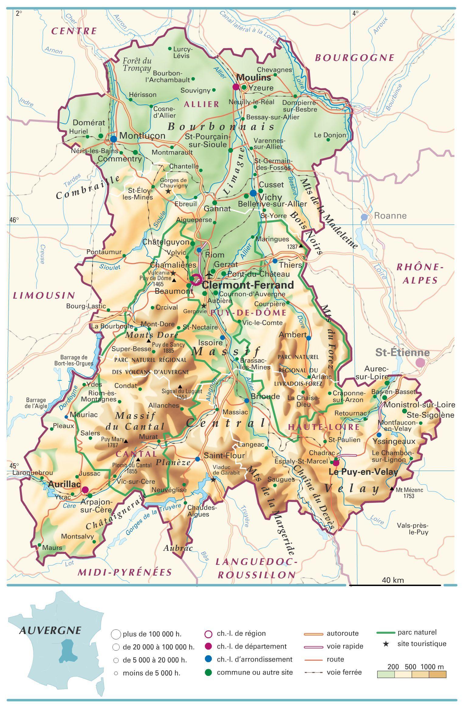 carte de l auvergne Carte Auvergne | Auvergne, Clermont ferrand, Roanne