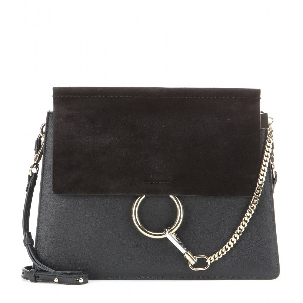 Chloé Faye Leather And Suede Shoulder Bag S Is Timeless Elegant In Black It Features A Flap To The Front
