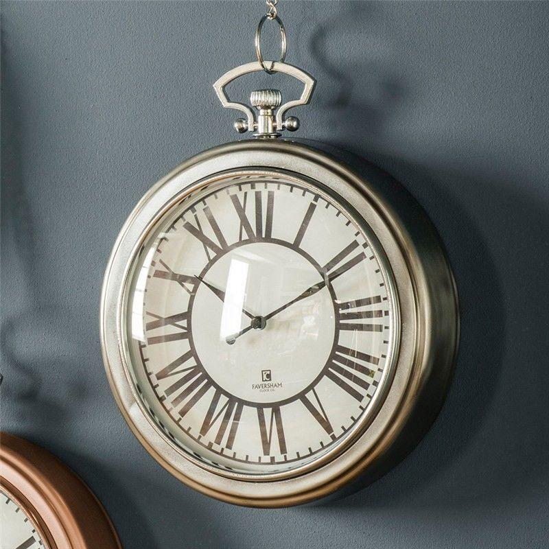 Oxford Pocket Watch Wall Clock 24cm Nickel Clock