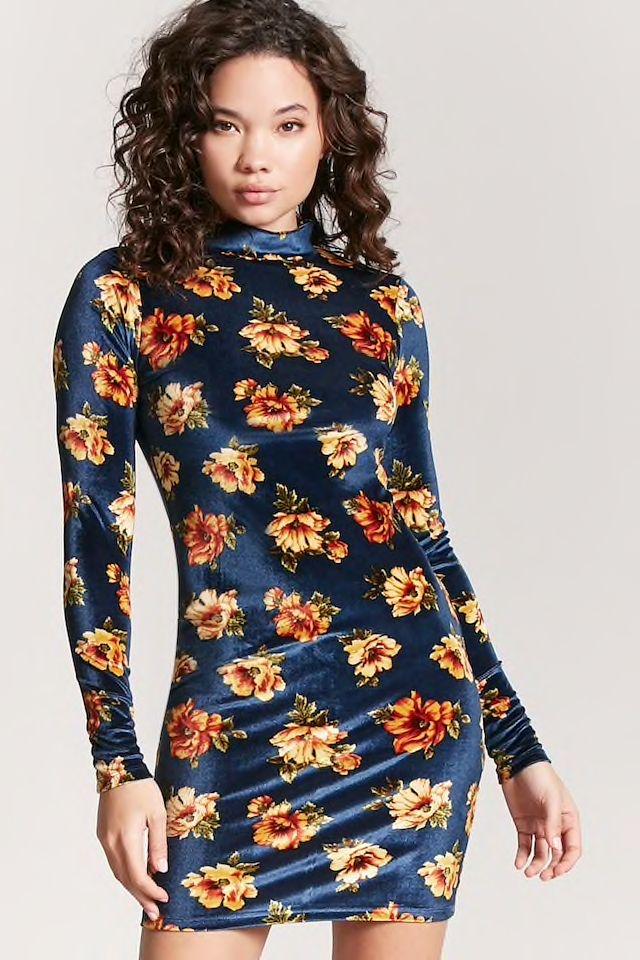 d00ee2076761 Floral Velvet Bodycon Dress   materialism + consumerism   Velvet ...