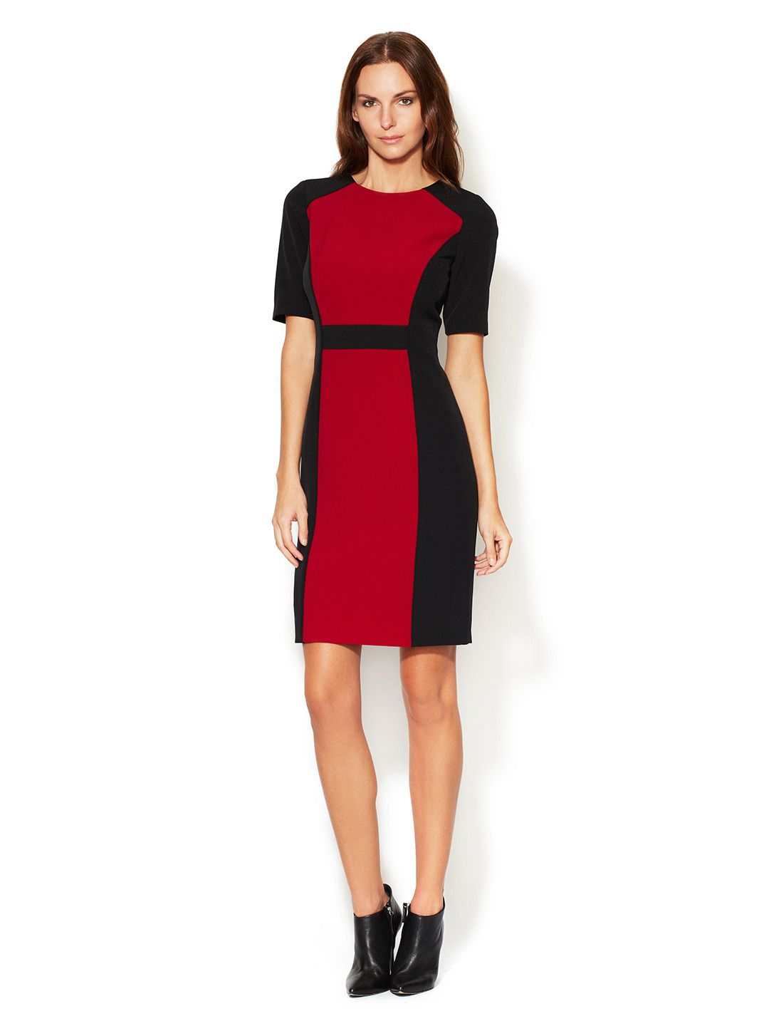 Black u red color blocked dress by a tahari asl office style