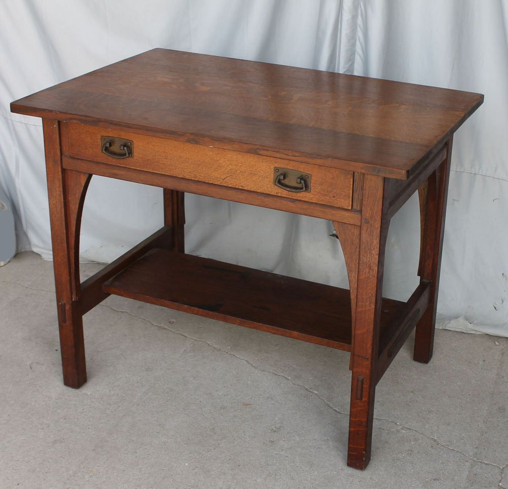 Antique Mission Oak Library Table Desk – L and J G Stickley - Arts - Antique Mission Oak Library Table Desk – L And J G Stickley - Arts