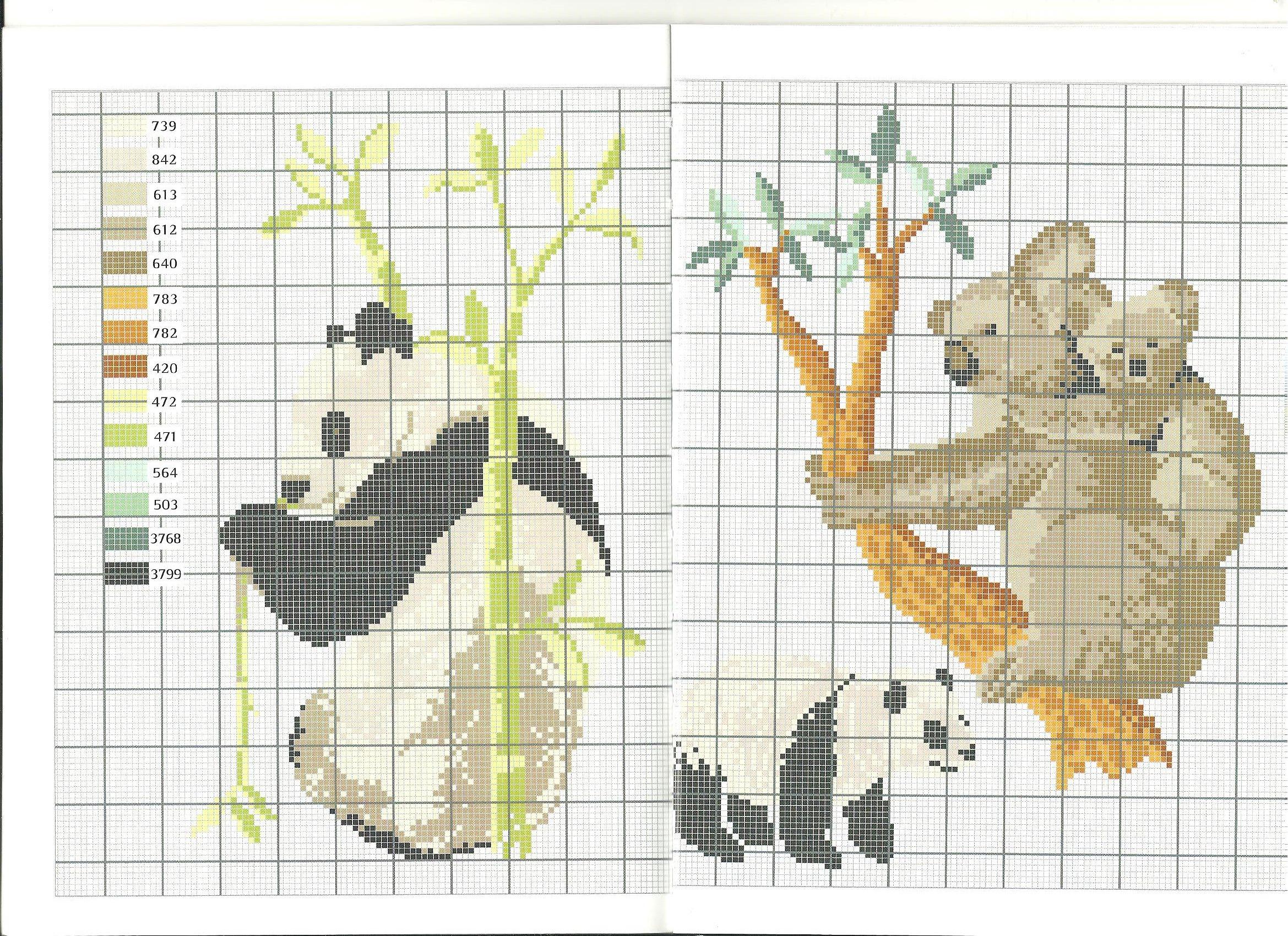 panda et koala * point de croix * cross stitch panda and koala ...