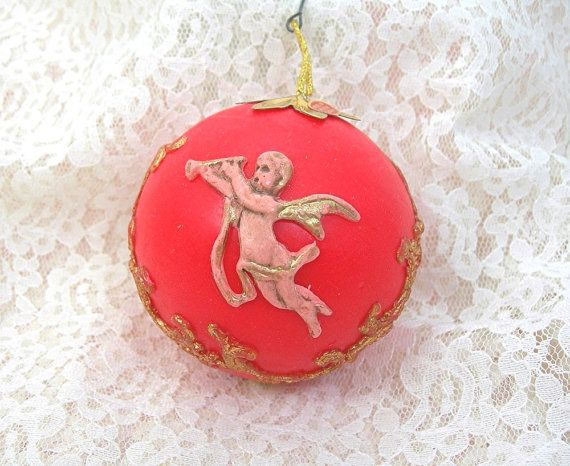 Red Wax Christmas Tree Ornament Victorian by AtticDustAntiques