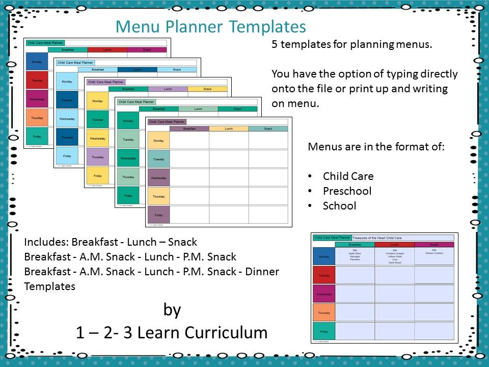 I have added 5 assorted menu templates with Child Care, Preschool or ...