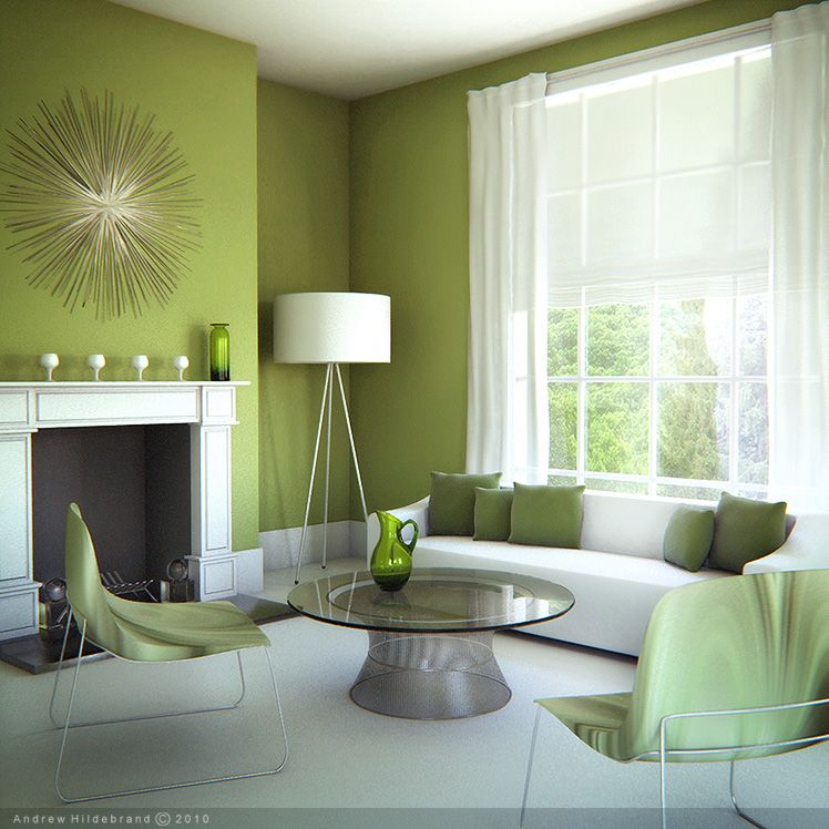 Simple Green Living Room With White Carpet Flooring