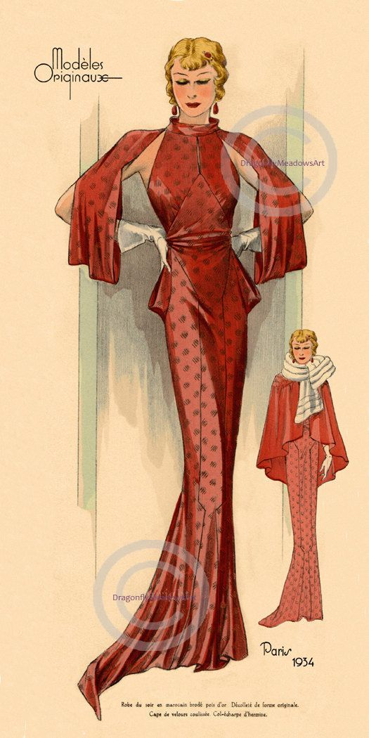 Paris Fashion Print, Art Deco 1934, Lady in Red, glamorous french ...