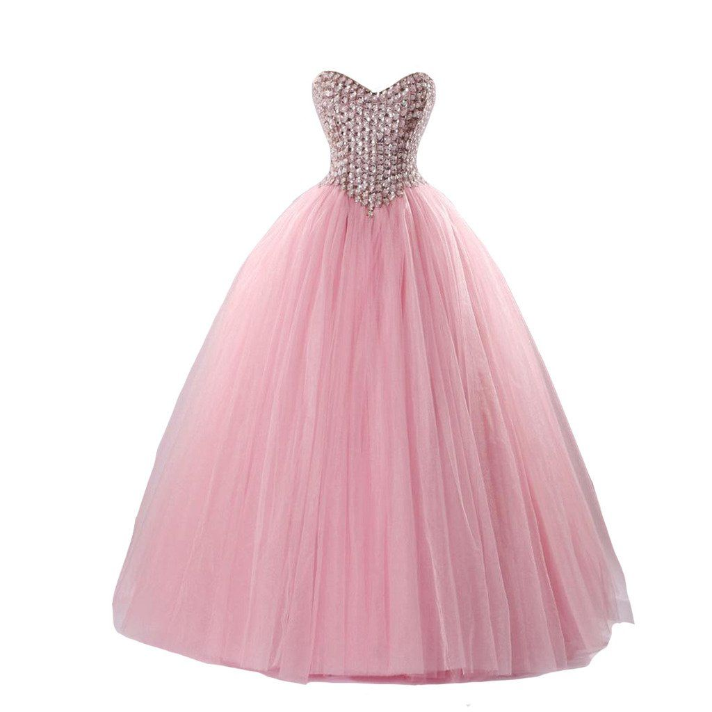 Kivary pink ball gown crystals sweetheart long corset formal prom