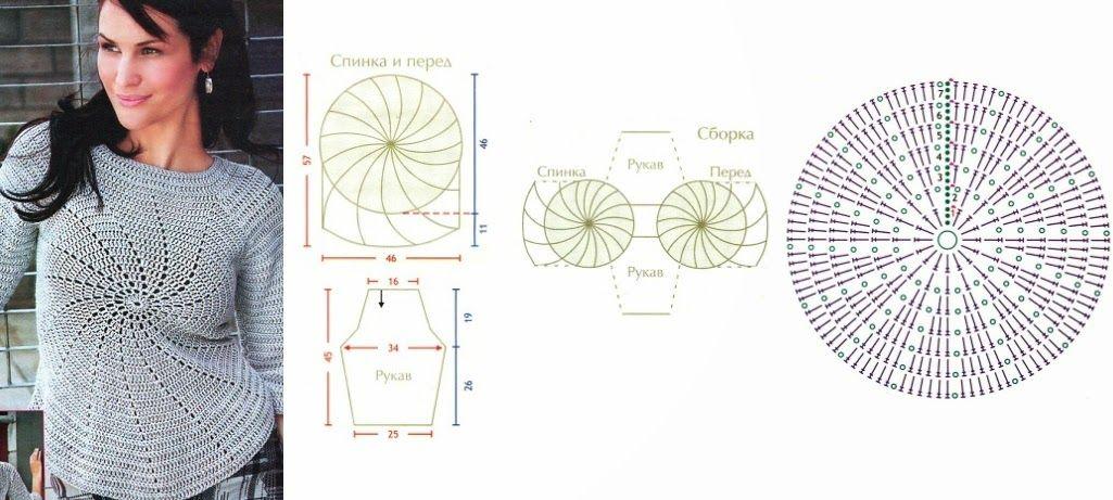 blusa-circulo-central.jpg 1,025×461 pixels | Crochet Tops, Dresses ...