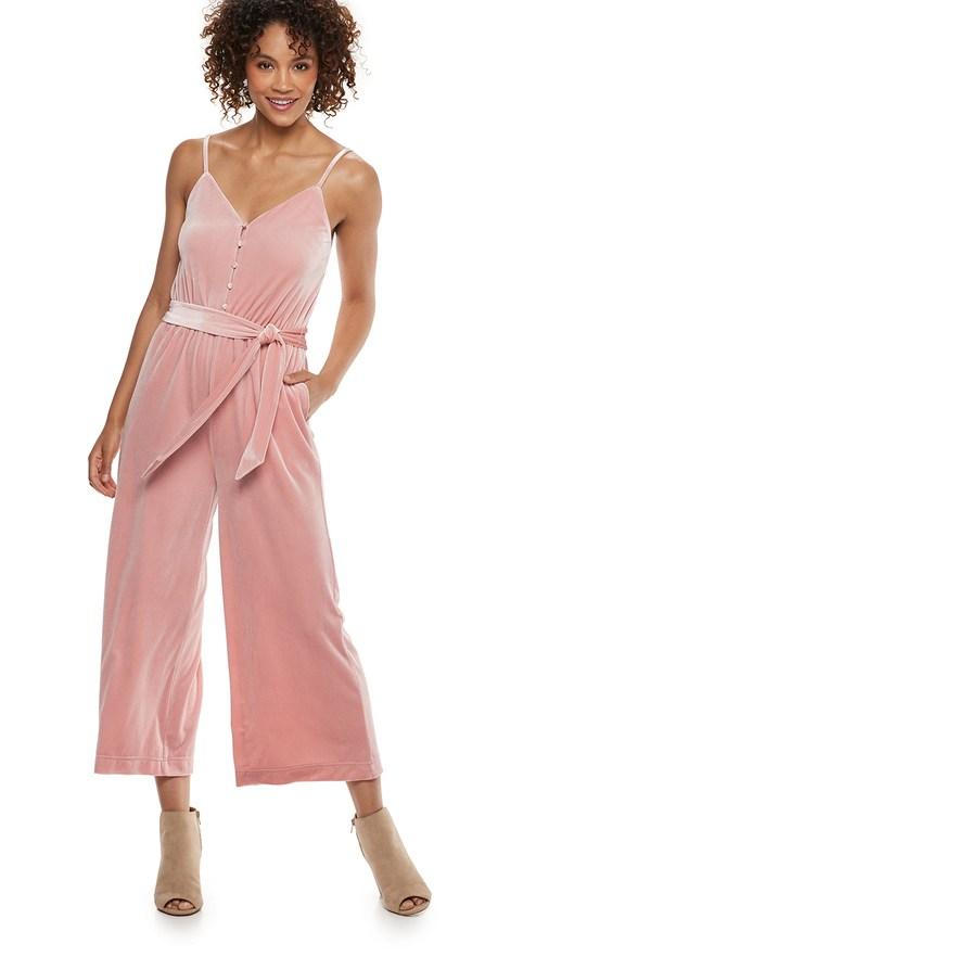 08aebfc615a3 Women's Popsugar Velvet Wide-Leg Jumpsuit, Size: Large, Med Pink ...