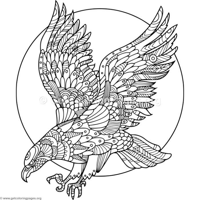 Download For Free Zentangle Eagle Coloring Pages Coloring