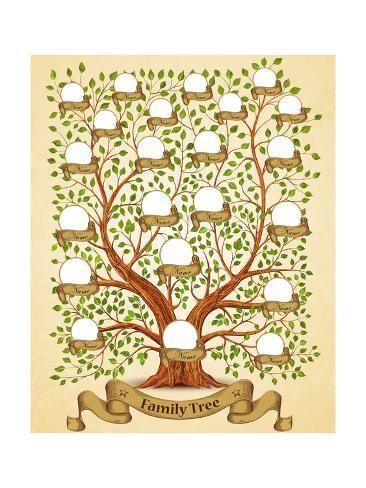 Family Tree Template Vintage Vector Illustration Art Print Yayasya Art Com In 2021 Family Tree Art Family Tree Painting Family Tree Designs