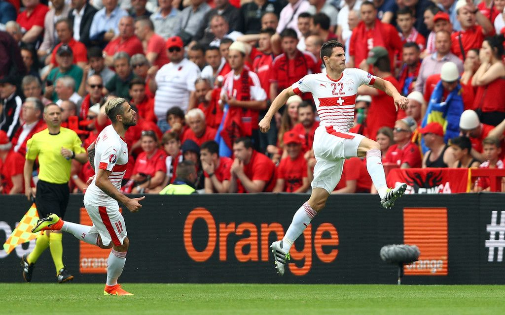 Fabian Schaer Of Switzerland Celebrates Scoring His Team S First Goal With His Team Mate Valon Behrami During The Uef Uefa Euro 2016 Euro 2016 Football Europe