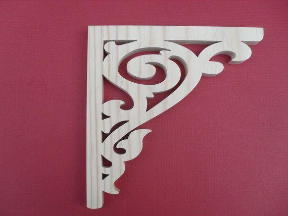 Victorian Gingerbread Wood Brackets / Shelf Brackets / Porch Brackets/ Fretwork Wood Brackets/