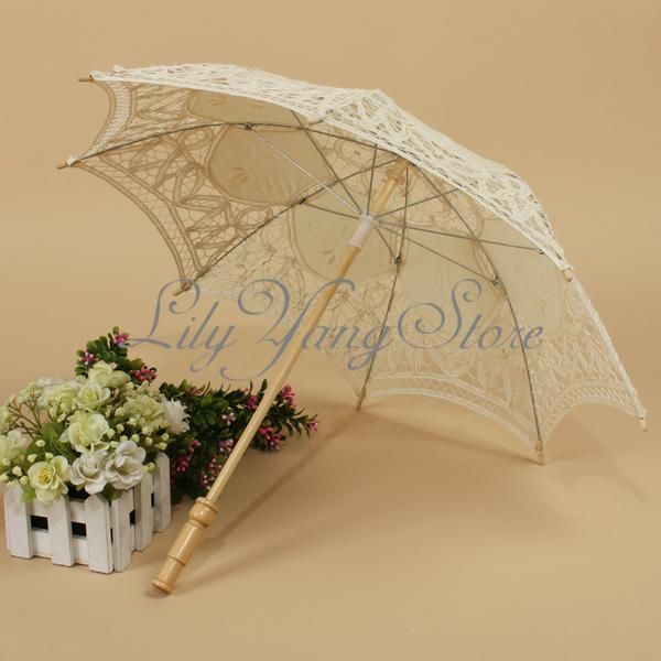 a04e382dc480 Vintage Handmade Cotton Parasol Lace Umbrella Party Wedding Bridal  Decoration