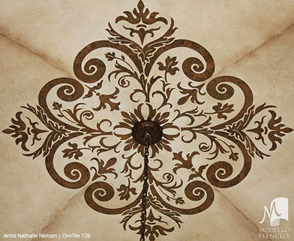 Painted Ceiling Tile Stencils With Classic European Style