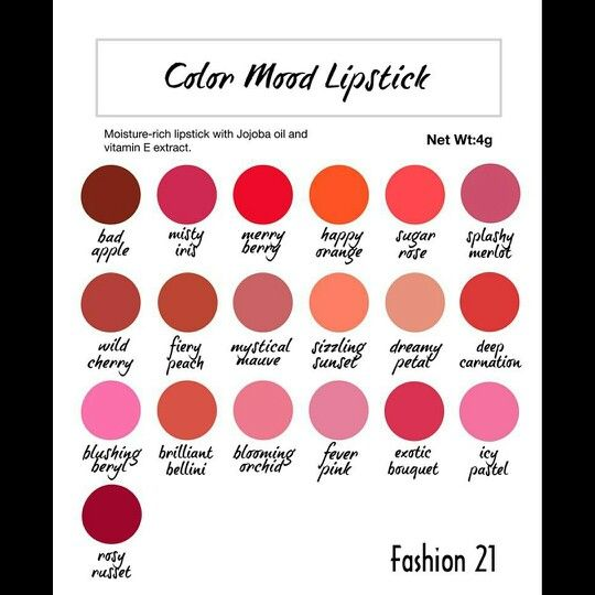 Color And Mood fashion 21 color mood lipsticks has 8 new shades! | lipstick love