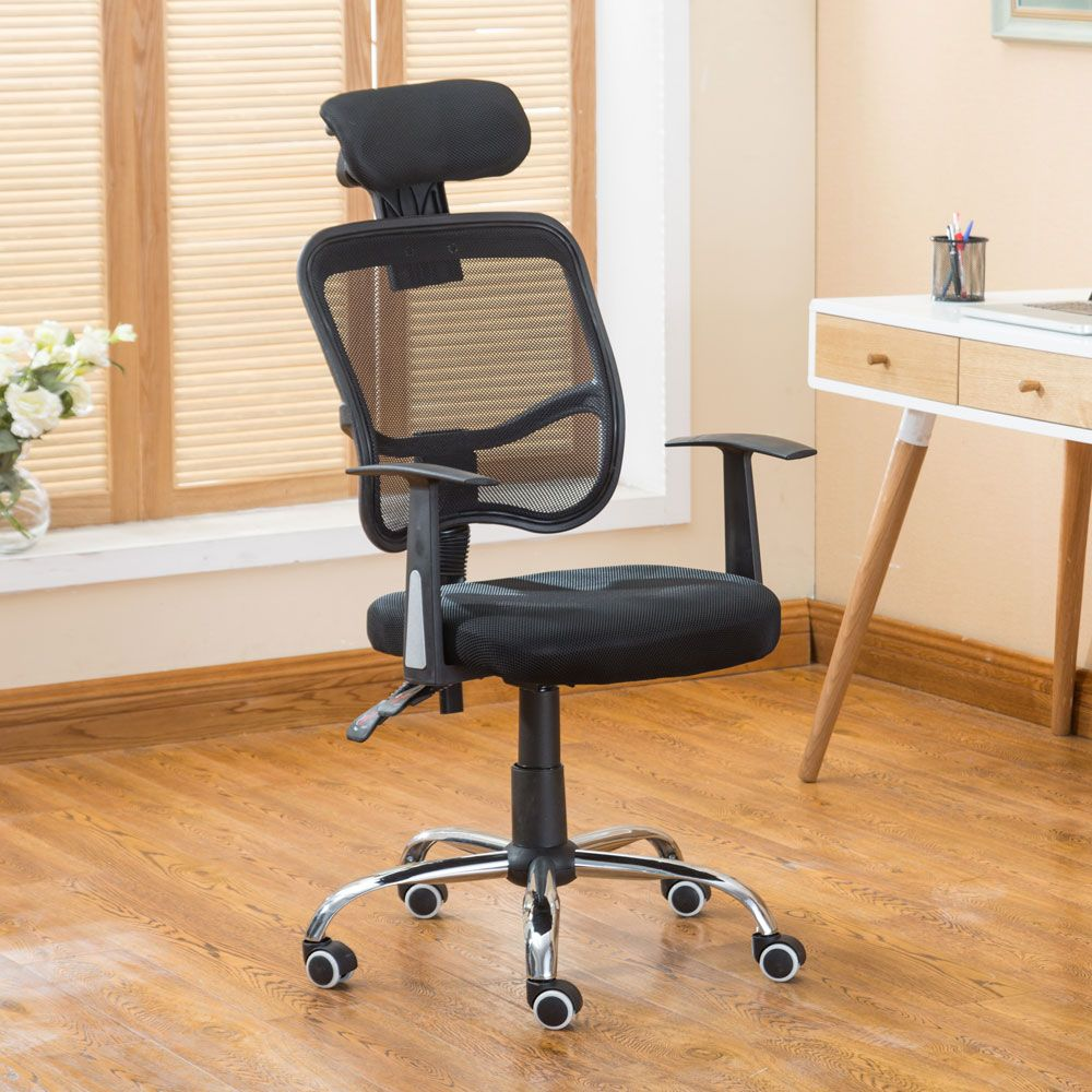 Mesh Office Chair Swivel Gas Lift Black Armchair Rolling
