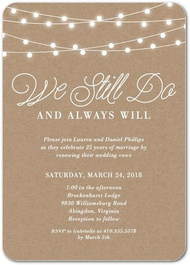 Rustic Backyard Signature White Vow Renewal Invitations Magnolia