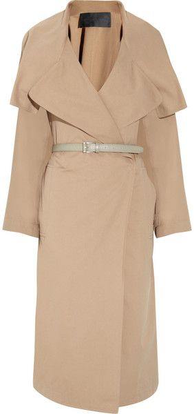 Belted Cotton and Silk Blend Trench Coat - Lyst