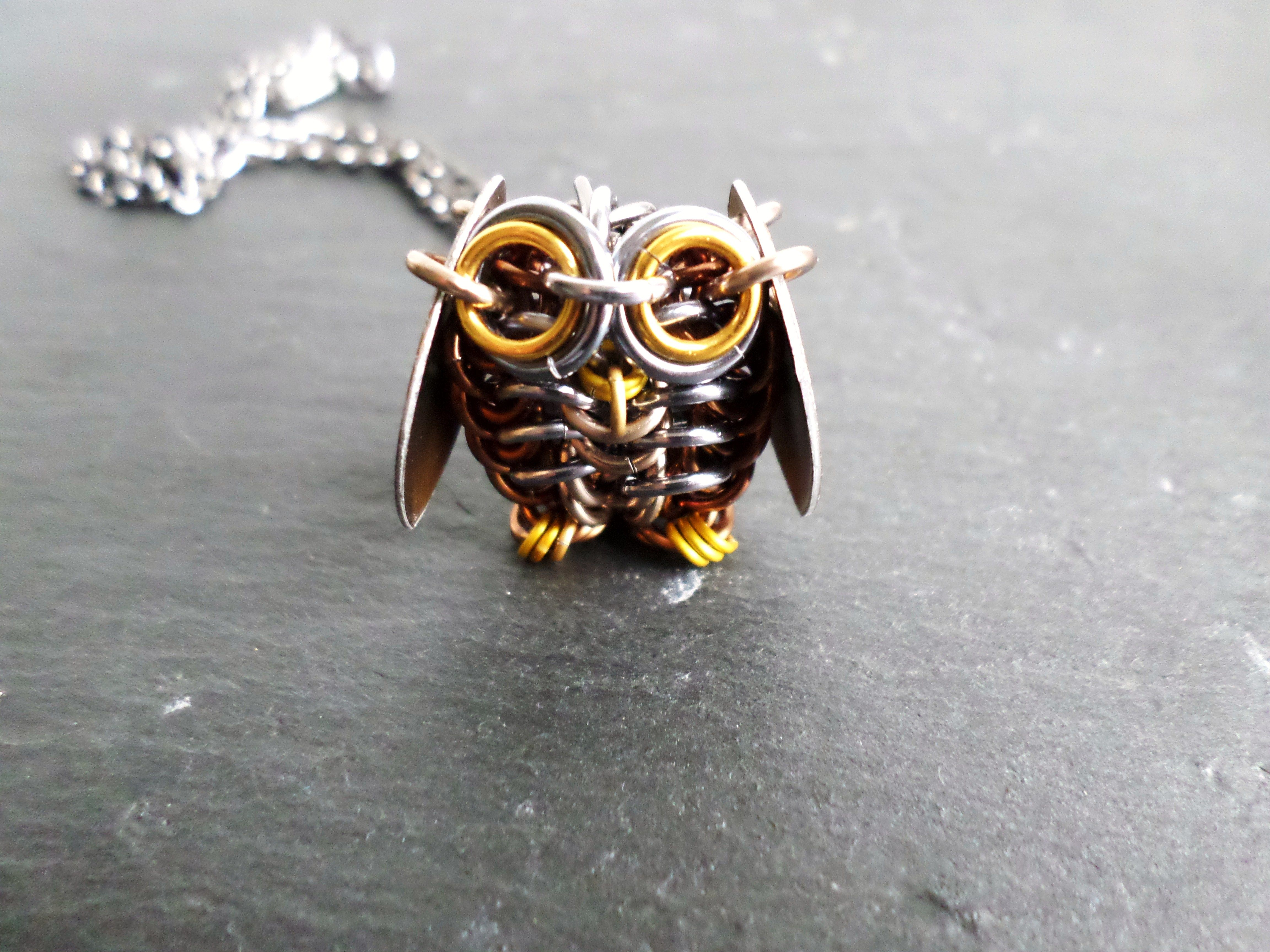 Chainmail jewelry designs this little owl necklace will have you swooning with cuteness a mozeypictures Image collections