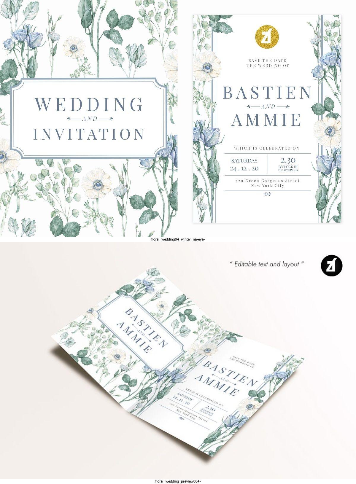 Floral Handdrawn Watercolor Wedding Invitation Floral Handdrawn Watercolor Wedding Invitation