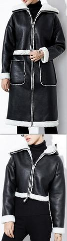 Lambswool-Trimmed Faux-Leather Coat/Jacket, Black