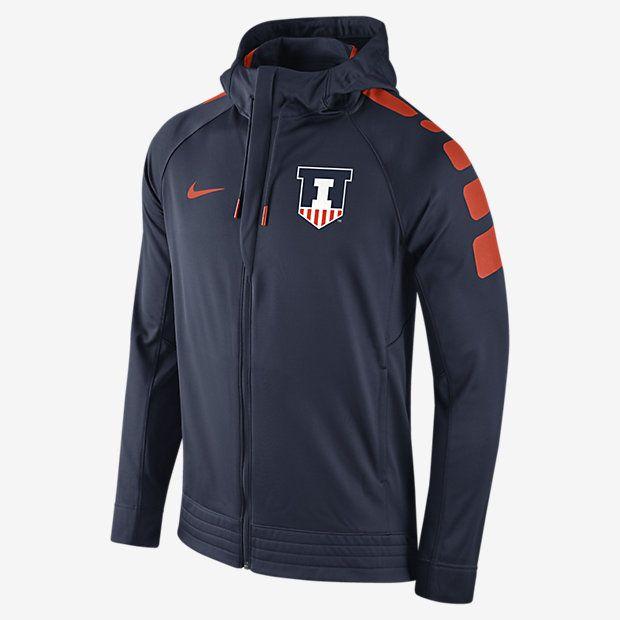 Nike College Elite Stripe Full Zip (Illinois) Men's Hoodie