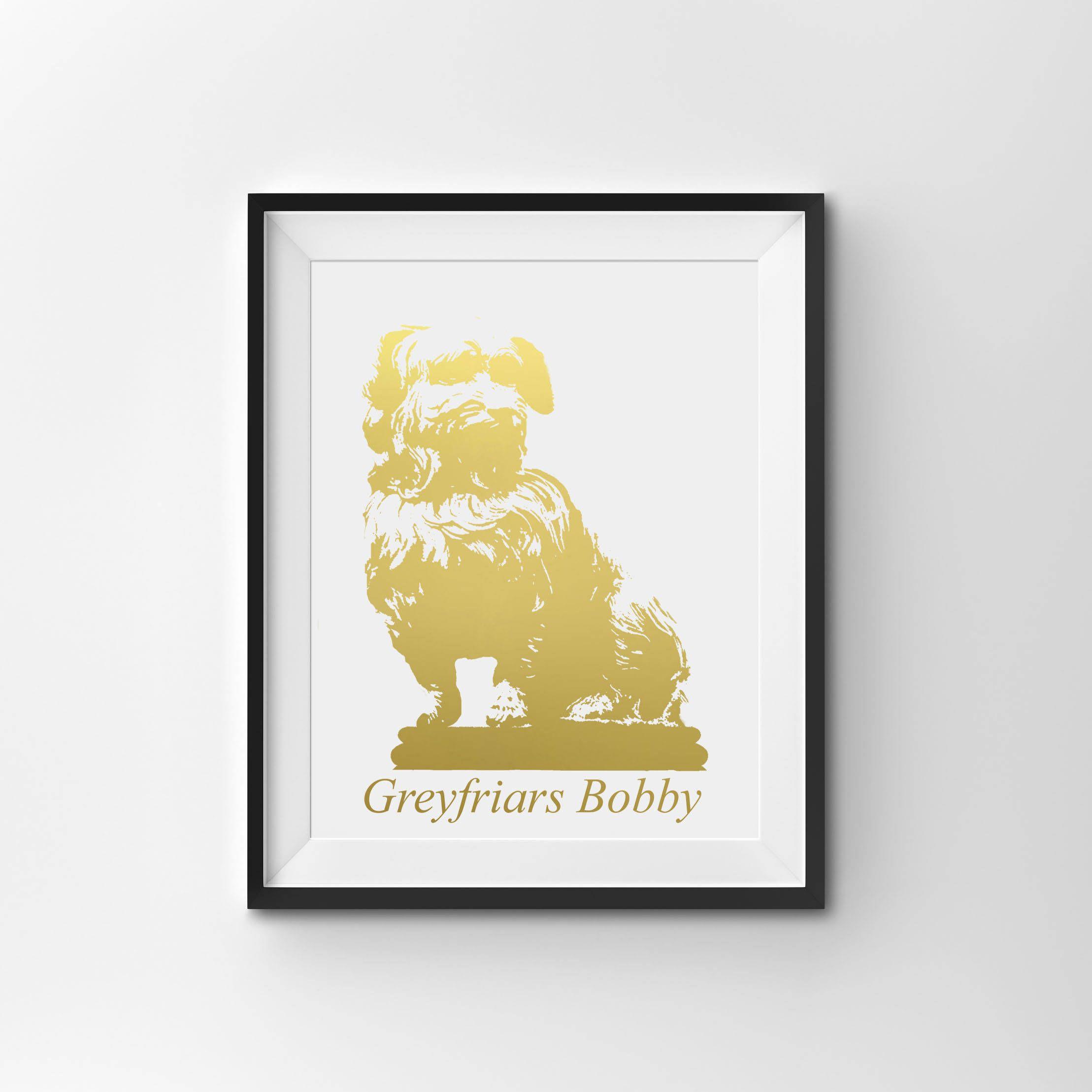 Real Gold Foil Print, Greyfriars Bobby, Animal Wall Art, Gold Home ...