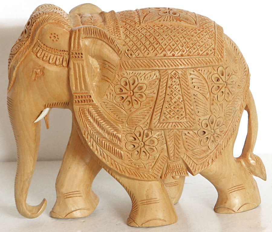 Decorated Elephant with Intricate Carvings