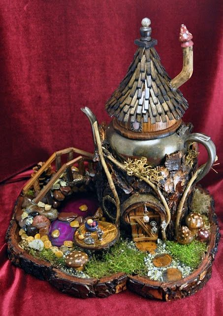 Lots of ideas for upcycled fairy houses. Everything from plastic bottles to old tea pots. Some tutorials but the beauty of fairy house is that you use found items from natural and your imagination to create something charming. - DIY Fairy Gardens