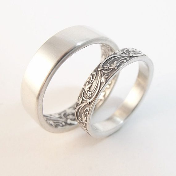 Womens Wedding Band Set Womens Wedding Ring Set Mens Wedding Band Mens Wedding Ring Sterling Silver Wedding Rings Ivy Floral Wedding Bands
