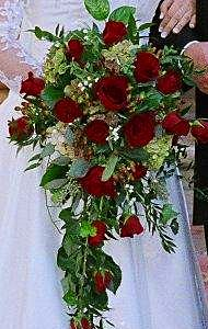 Cascading Bouquet Of Black Magic Red Roses Italian Ruscus Seeded Eucalyptus Lily