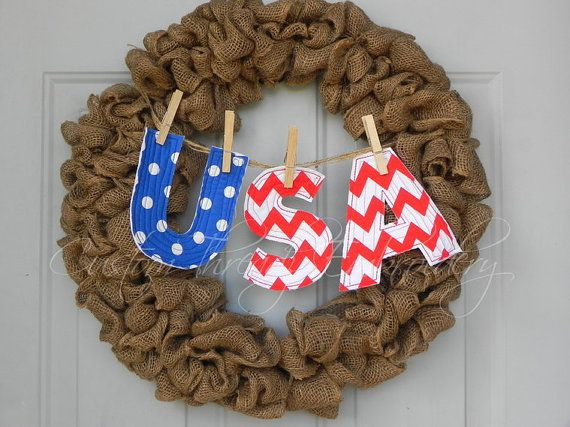 Shabby Patriotic USA Letter Banner, Wall or wreath hanging, Red, White, Blue on Etsy, $15.00