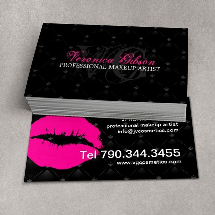 Fully Customizable Tufted Hot Lips Business Card Template Created - Makeup artist business card template