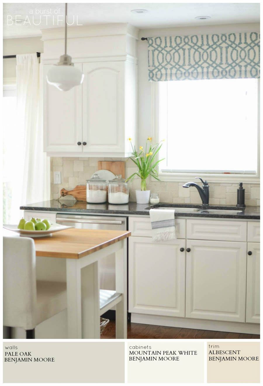 a modern farmhouse kitchen is painted light grey pale oak by benjamin moore for a timeless and on farmhouse kitchen wall colors id=88556
