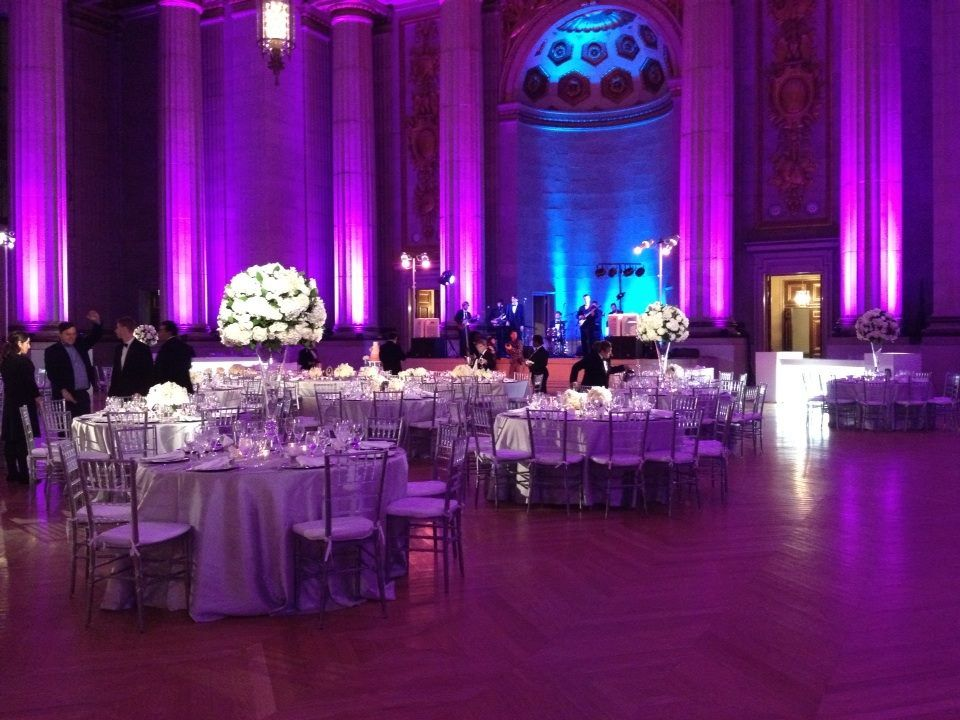 Purple, white and silver wedding reception. Purple and