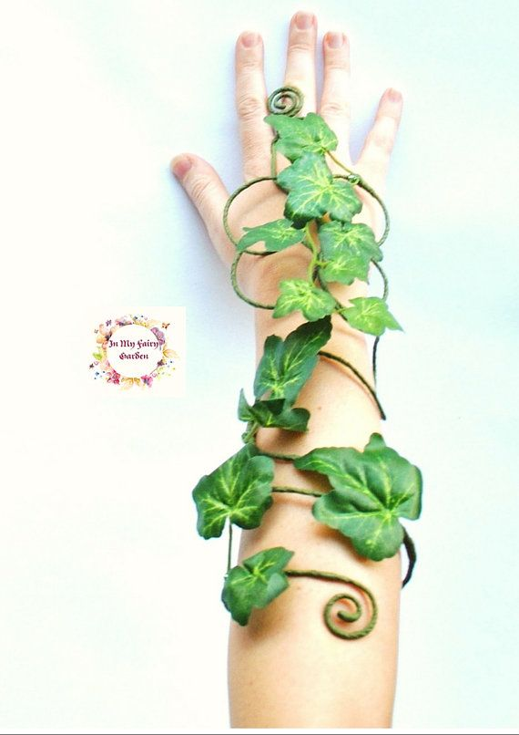 Gift-Efeu grün Efeublätter langen Arm Manschette wickeln Slave Armband Efeu Bündchen Wald Wald Fee Kostüm #danceandmovement
