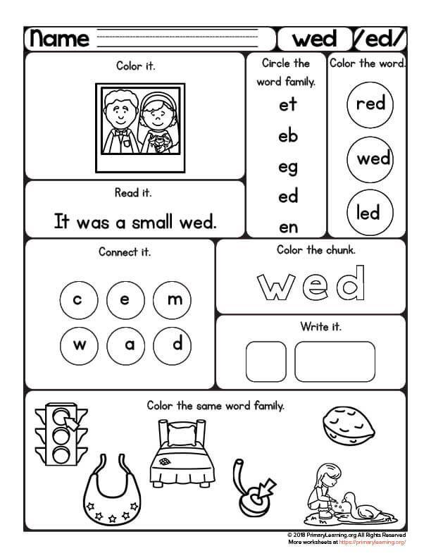 Wed Worksheet Word Family Worksheets Primarylearning Pinterest