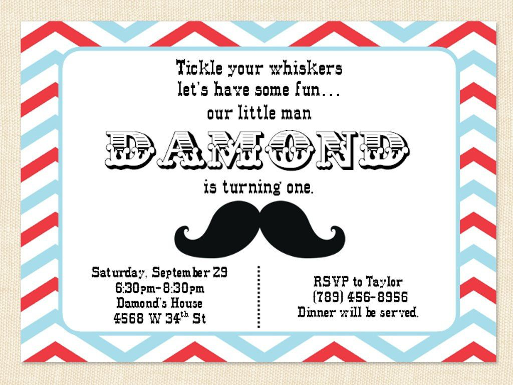 Mustache Birthday Invitation 1st first Child Adult Little Man ...