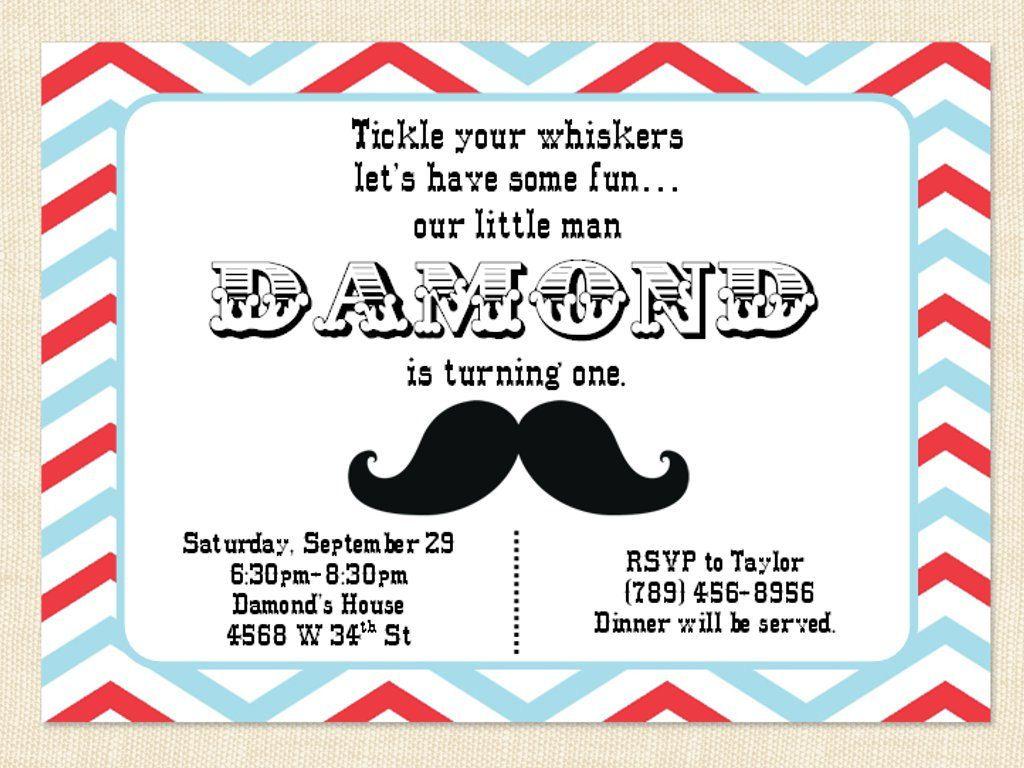 Mustache Birthday Invitation 1st first Child Adult Little Man ...