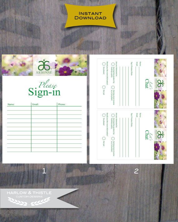 wwwMeghanScalessearbonne INSTANT DOWNLOAD * Printable Arbonne - email sign up sheet template